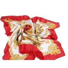 HERMES платок женский шёлковый красный. Размер 90х90 см.