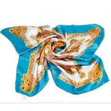 HERMES платок женский шёлковый голубой. Размер 90х90 см.