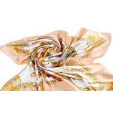 HERMES платок женский шёлковый кремовый. Размер 90х90 см.