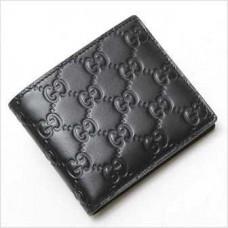 Мужской чёрный кожаный бумажник Gucci БГ011