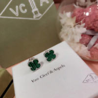 Серьги Van Cleef Green mini